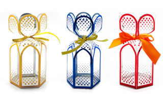 Clear Blue, Red, Gold Gift Packaging